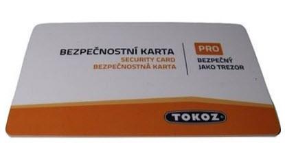 Cartão de segurança chaves Tokoz