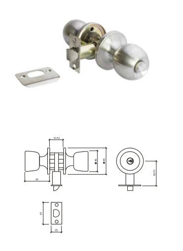 Fechadura Tubular 607W para casas de banho