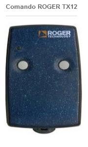 Comando para automatismo da marca roger modelo tx12