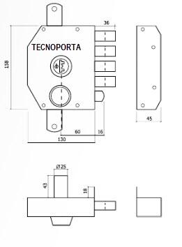 ESQUEMA TÉCNICO DA FECHADURA GLK 9072