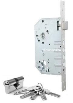 Fechadura de segurança para embutir em portas de madeira com cilindro com chaves de pontos
