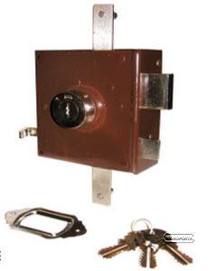 Fechadura com chaves de 2 entradas e 2 trancas verticais