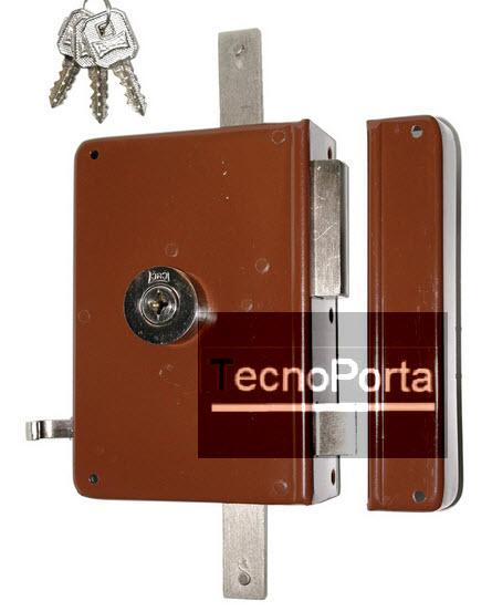 Fechadura CRC referencia 792/249/01 com 3 chaves de 4 entradas e 2 trancas verticais telescópicas