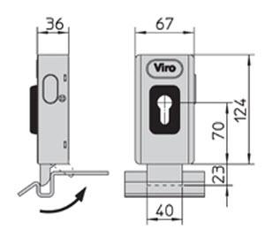 medidas do trinco eléctrico viro universal