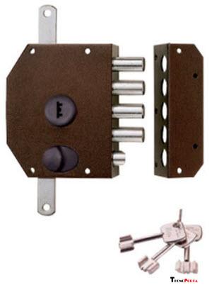 Fechadura Iseo com 2 trancas verticais telescópicas e 3 chaves de bomba