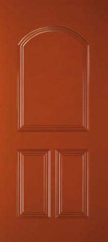 Painel de alumínio para exterior em portas blindadas das marcas Portrisa, Gardesa, Dierre e Tecnoporta, lacado em diversos cores Ral. Constituído com 2 almofadas inferiores em uma grande almofada superior em forma de arco.