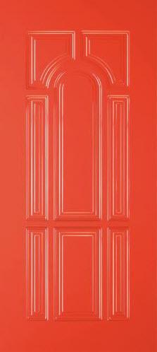 Painel de alumínio modelo T10 é fabricado em espessura de 19mm com acabamento em vermelho. É estampado múltiplas almofadas pequenas para dar um ambiente do tipo antigo com cores modernas. A fixação de um puxador em inox na verticalidade confere uma porta de entrada com excepcional apresentação. Indicado para todos os modelos de portas blindadas Tecnoporta