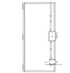 esquema técnico para fechadura lateral com tranca vertical superior e tranca lateral inferior