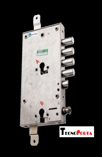 Fechadura Mottura para portas blindadas com 2 trancas verticais e sistema de limitador accionado pelo cilindro secundario