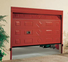 Portão Seccionado com Painel decorativo Dx199 lacado a vermelho