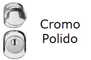 Conjunto de ferragens para portas blindadas Gardesa com fechadura de cilindro em cromo polido