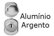 Conjunto de ferragens para portas blindadas Gardesa com fechadura de cilindro em aluminio argento
