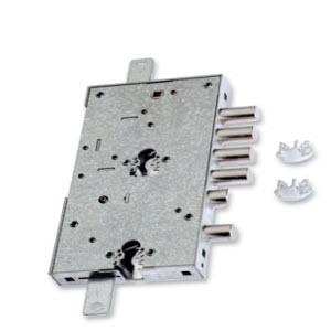 Fechadura Securemme para portas blindadas fabricada em aço zincado com tratamento anti corrosivo. Funciona com 2 cilindros, sendo o do meio o principal e o secundário funciona com a função de chave de serviço.